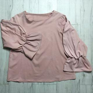 Blouse with Ruffled Sleeves (NEW) (Pink)