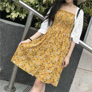 高腰脆花吊帶裙