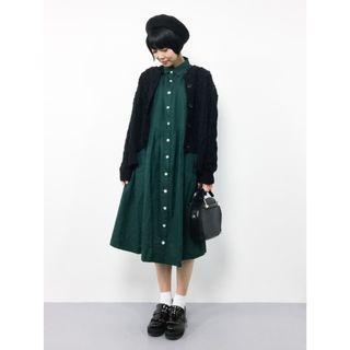 日牌 Design Tshirts Store graniph 氣質墨綠襯衫裙