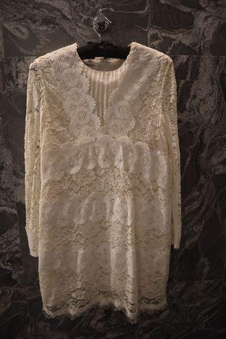 高端精品 全手工製作立體緹花蕾絲長袖連身洋裝