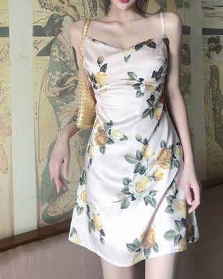 Vintage Floral Sleeveless Mini Slip Dress