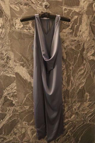 緞面 蕩領 開叉 無袖連身洋裝