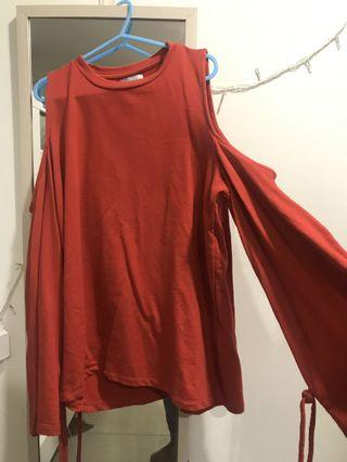 Red Blouse pull & bear ( off shoulder )