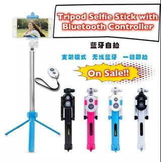 Extendable Selfie Stick Tripod with Wireless Remote for All Cell Phone