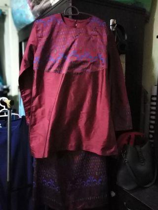 Baju Kurung Preloved Maroon
