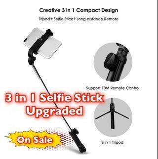 3 in 1 Selfie Stick, Build-in Tripod, Bluetooth Remote!! e