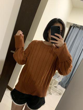 橘棕色直坑紋針織上衣 #剁手時尚