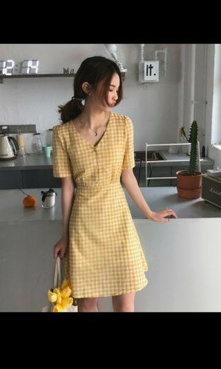 黃色格紋洋裝