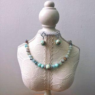 Mint necklace and earring