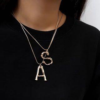 歐美金屬字母項鍊 熔岩英文鎖骨鏈 women necklace