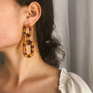 復古耳環 豹紋耳環 橢圓形/方形