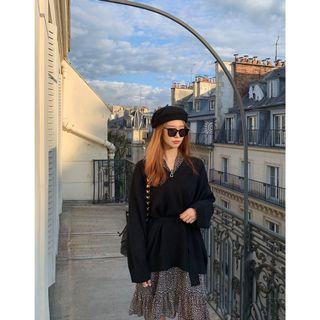 正韓製素色寬鬆V領長袖針織衫 knit ( chuu ) 洋裝 腰帶 長版