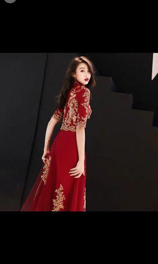 敬酒服新娘2019春款新款 五分袖紅色結婚晚禮服 顯瘦長款 婚紗照適合