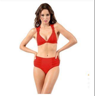 Voda Swim-復古設計美胸比基尼上半身-紅色M號