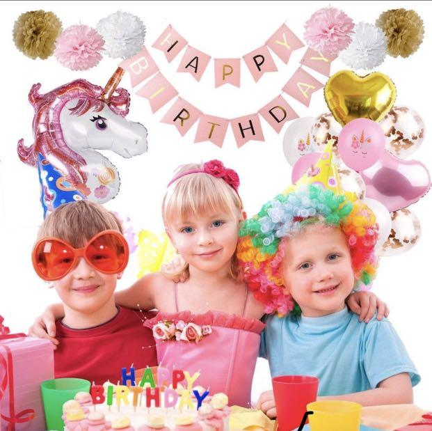 39PCS Unicorn Foil Balloons Set Kids Happy Birthday Banner Wedding Party Decor