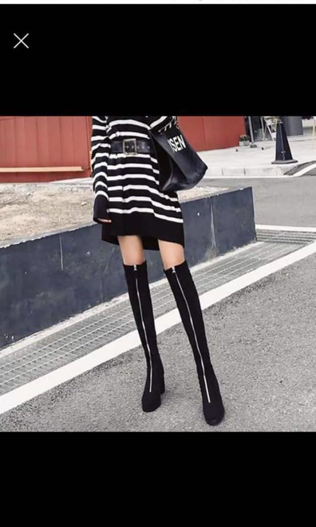 韓版時尚高筒翻毛皮女靴/過膝靴/長筒靴/長靴/高根鞋/高根長靴/方根
