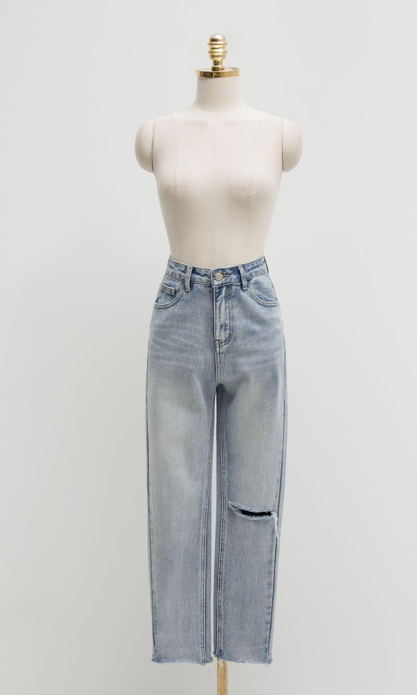 割破造型高腰牛仔褲