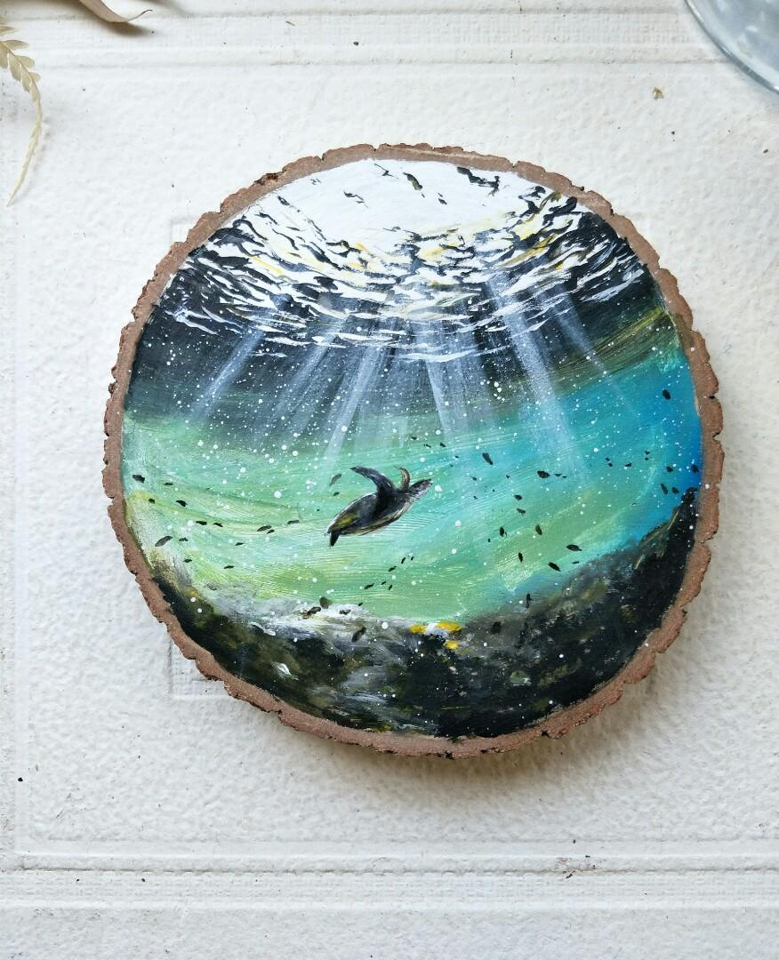 木頭藝術彩繪【海洋/海龜/光/環保】