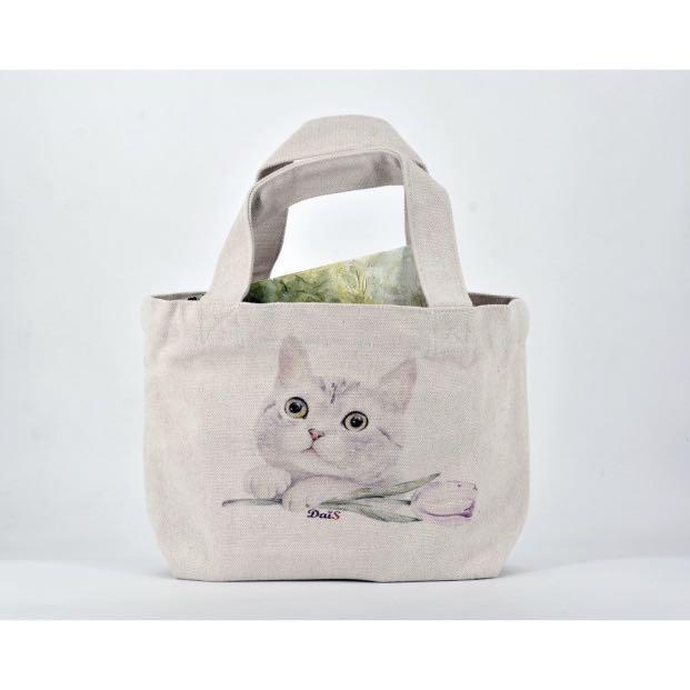 免運水彩手繪貓咪托特包