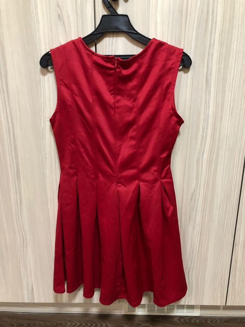 太空棉大紅洋裝