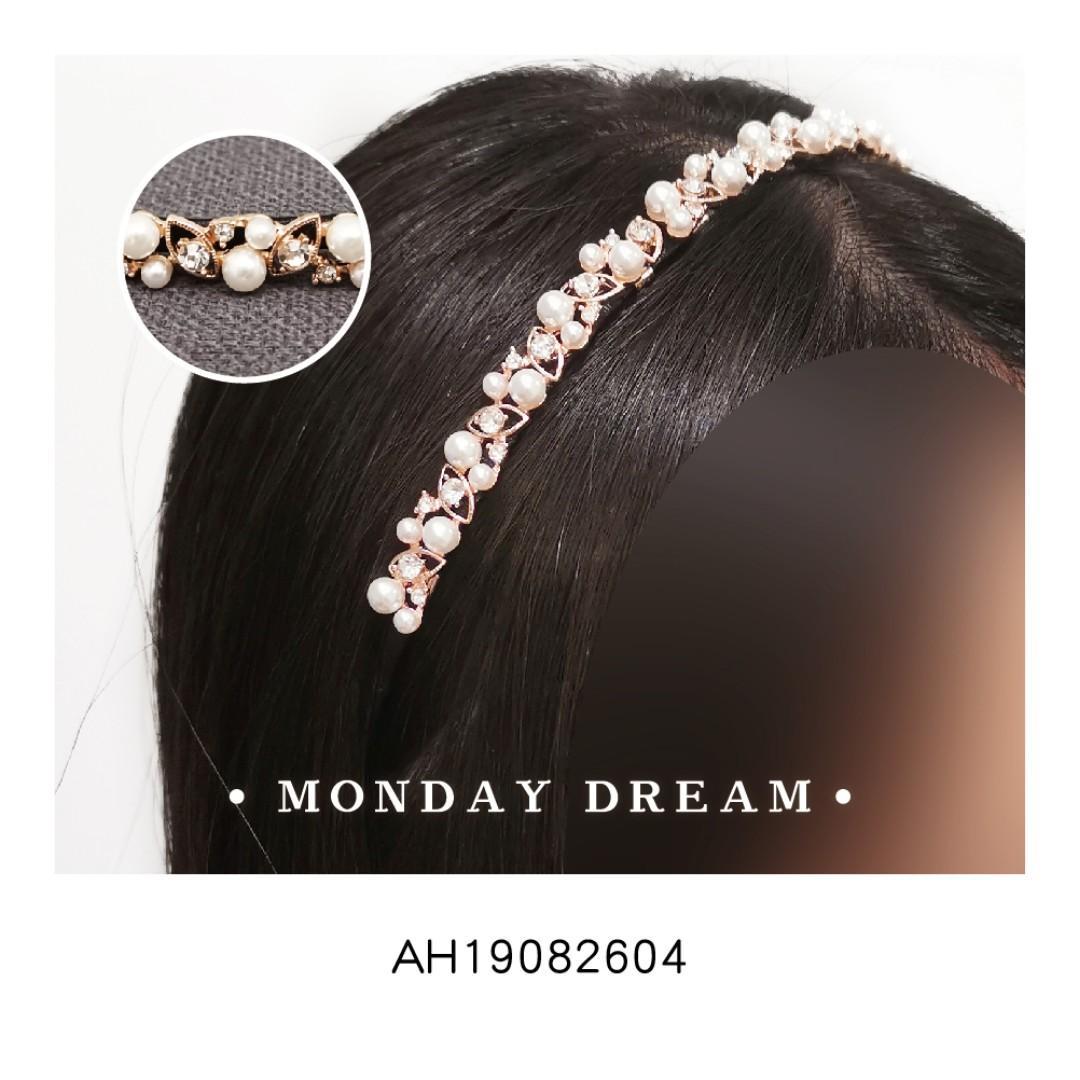 正韓‧珍珠水鑽髮箍 髮飾 髮帶 伴娘 質感