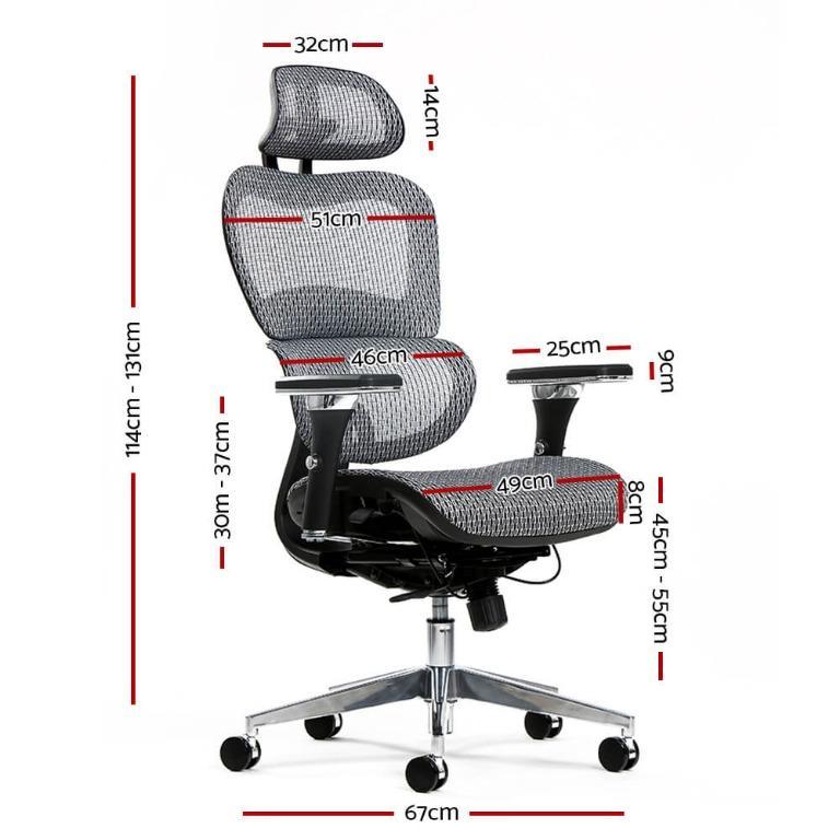 Artiss Office Chair Computer Gaming Chair Mesh Net Seat Grey
