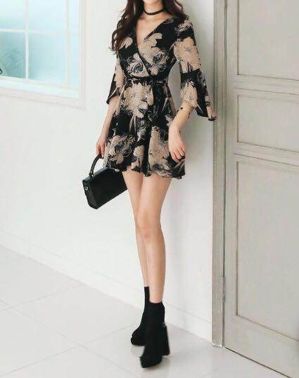 Aurora - Surplice Wrap Flared Sleeve Floral Chiffon Dress
