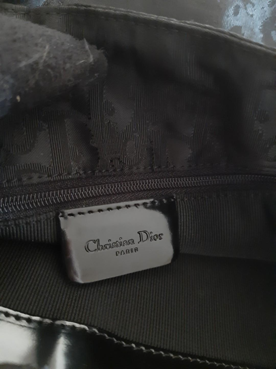 AUTHENTIC DIOR , LADY DIOR QUILTED BLACK NYLON SHOULDER BAG - MONOGRAM LOGO CANVAS DESIGN - CLEAN INTERIOR & POCKETS- HANDLE ABIT SEASONED , WILL GIVE TWILLY SCARF - (LARGE LADY DIOR BAGS NOW RETAIL OVER RM 20,000+)
