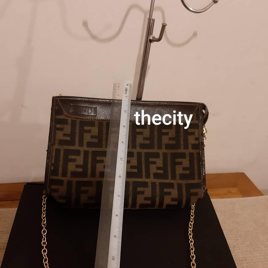 AUTHENTIC FENDI MONOGRAM LOGO, LARGE VANITY POUCH BAG - COMES WITH EXTRA ADD. HOOKS AND LONG CHAIN STRAP FOR CROSSBODY SLING - SLIGHTLY SEASONED INTERIOR & LEATHER TRIM EDGES - CAN BE RESTORED/ CLEANED AT BAG SPA - VINTAGE ITEM