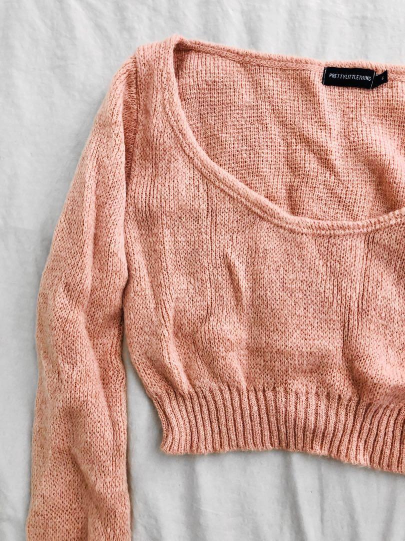 Blush pink soft knitted crop jumper top off shoulder
