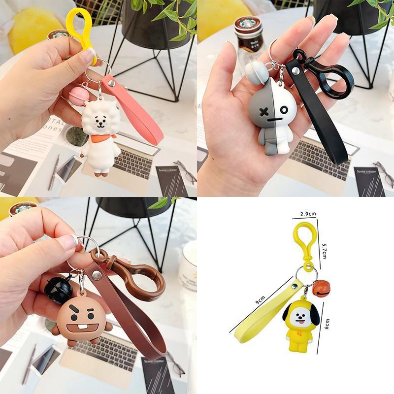 BTS BT21 Cartoon Car Keychain Tata V Acrylic Keyring Key