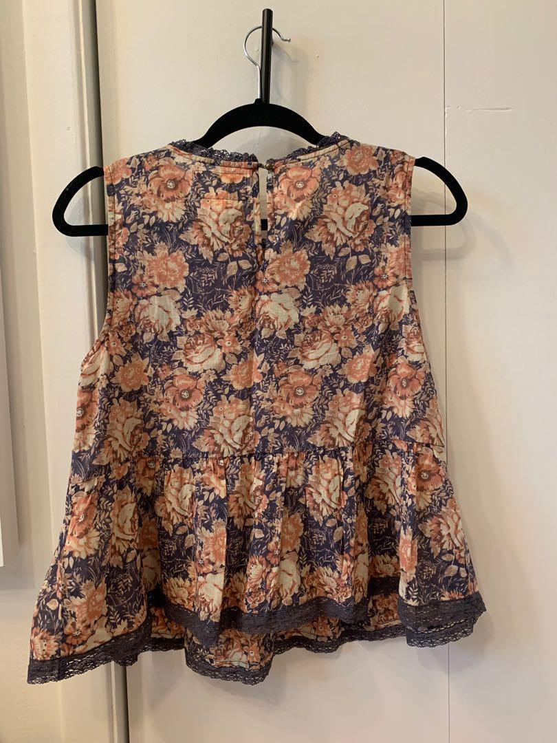 Current/Elliott floral lace top (size 0)