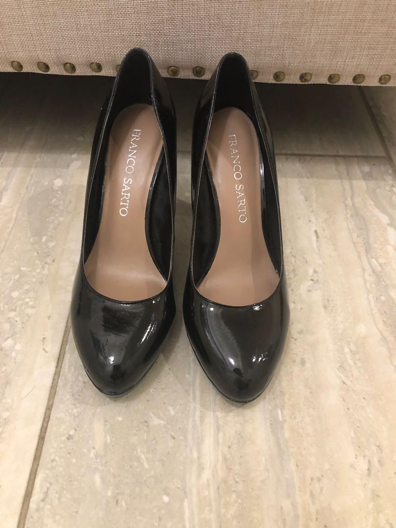 Franco Sarto Black Patent Leather Heels ( Size 6 )