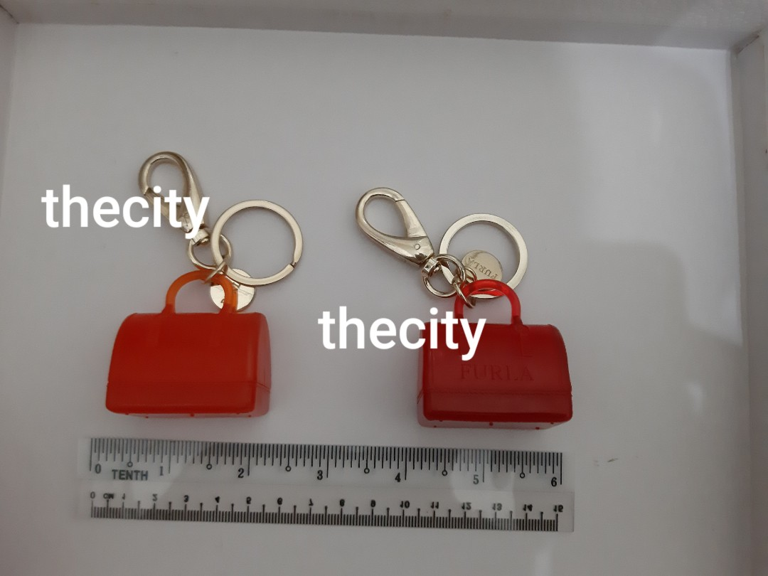 FURLA JELLY BAG KEYCHAIN CHARM - RED / ORANGE COLOR - GOLD HARDWARE - (BOUGHT IN FURLA BICESTER VILLAGE UK OUTLET STORE) - NEVER BEEN USED - (RETAILS NEARLY RM 300 EACH)