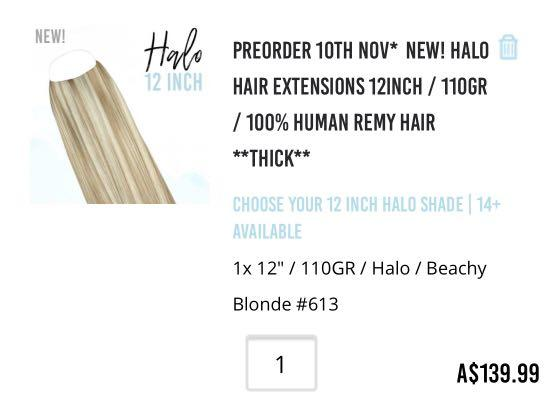 Halo Hair Extensions 12inch / 110gr / 100% Human Remy Hair **THICK**