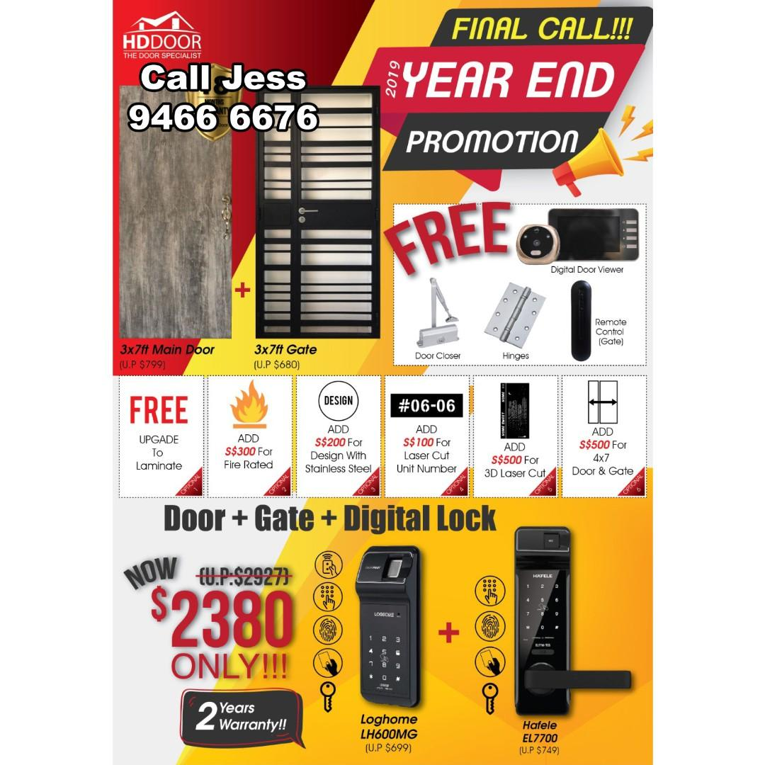 HDB Nice design gate and mian door with New design Digital Lock Year-end promotion