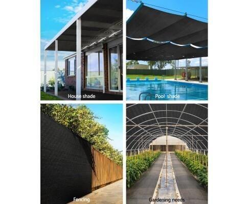 Instahut 3.66x10m 50% UV Shade Cloth Shadecloth Sail Garden Mesh Roll Outdoor Black
