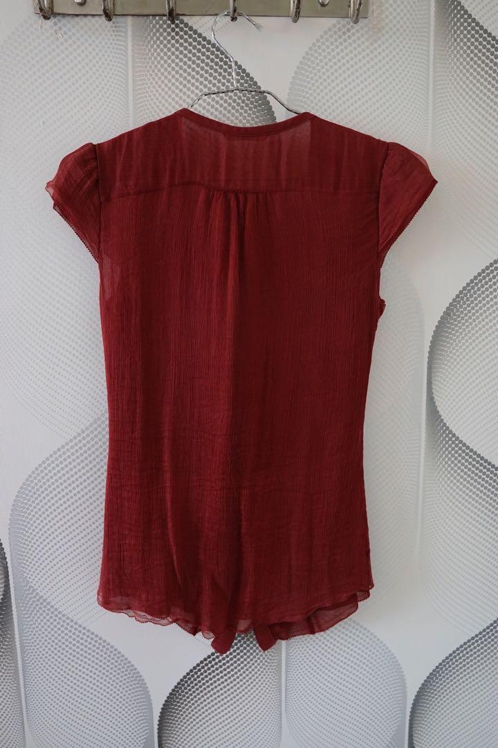 Massimo Dutti silk red blouse XS