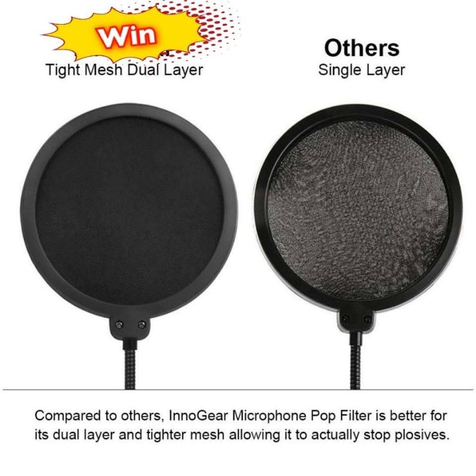 Microphone Pop Filter Dual Layer Mic Pop Shield with Clip Stabilizing Arm for Recording Vocals