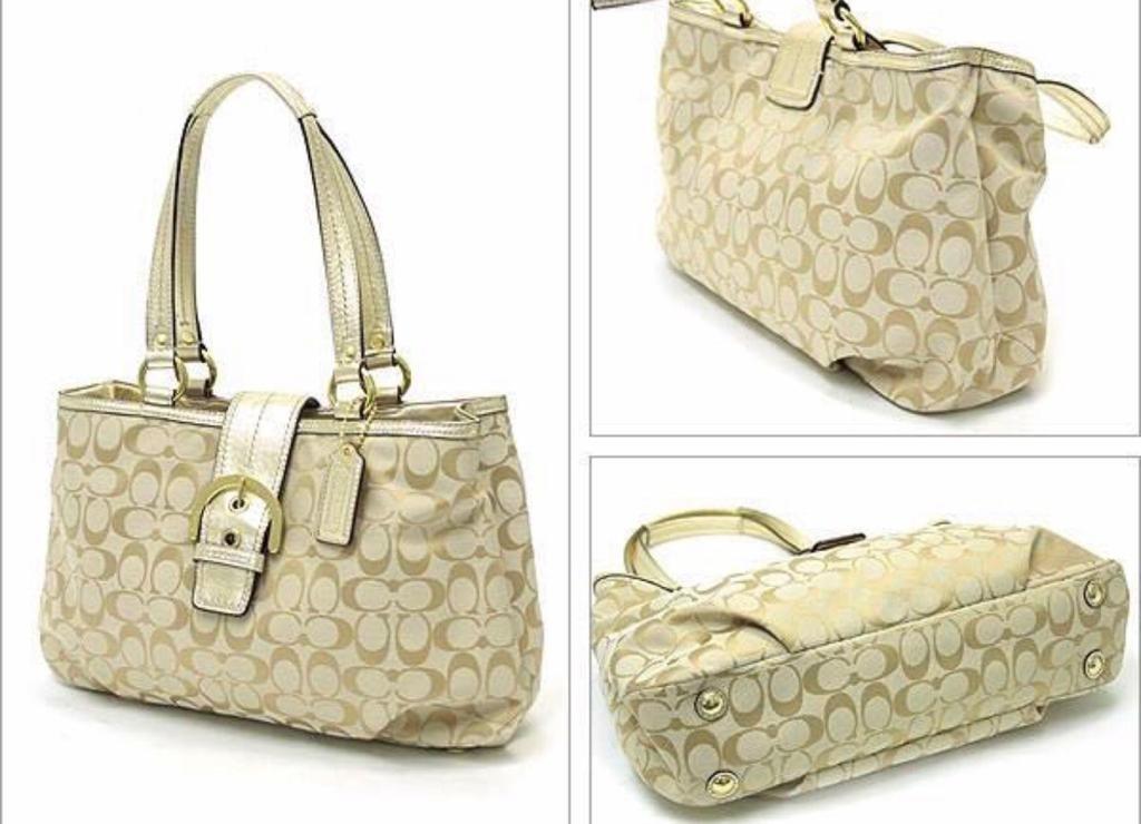 *New* Coach SOHO Signature Handbag (Light Khaki with Gold)