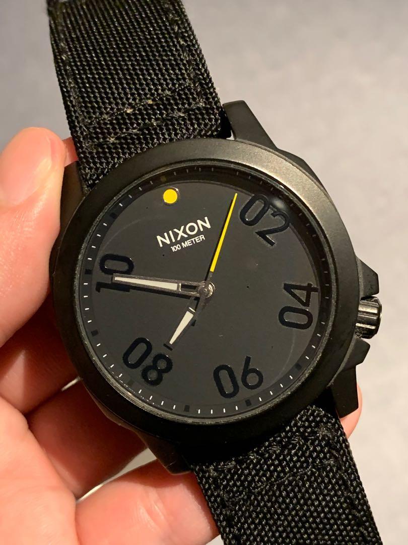 Nixon 手錶 全黑不鏽鋼 黃黑配色款