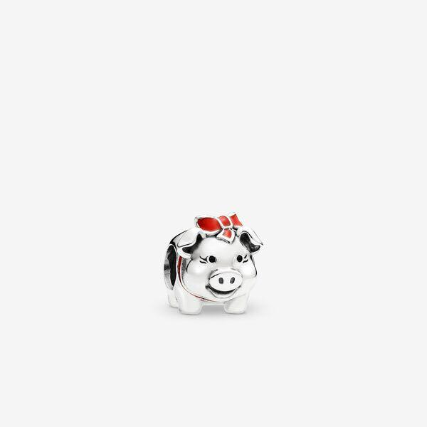 Pandora Hong Kong Exclusive 💎 Piggy bank silver charm with black and red enamel