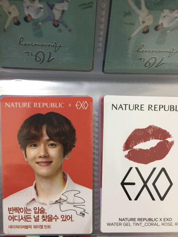 PHOTOCARD EXO x NATURE REPUBLIC (pc natrep) PC MERAH LIPTINT baekhyun suho