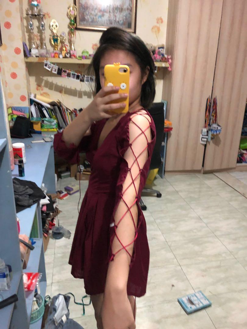 PLAYSUIT DRESS RED MAROON V NECK SAINT x SINNER