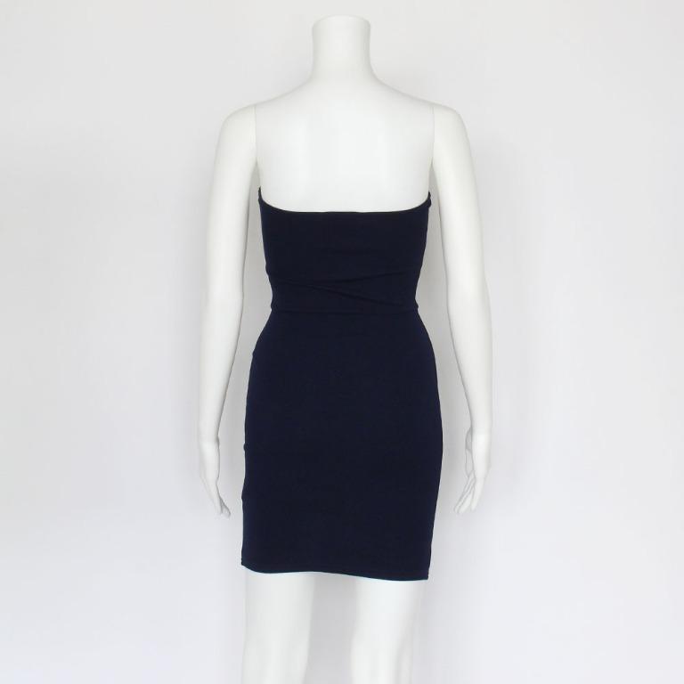Pretty Little Thing Navy Layala Split Detail Bandeau Bodycon Dress