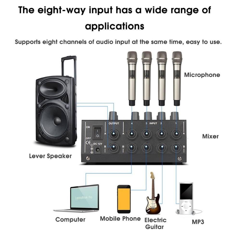 Professional 8 Channel Studio Microphone Audio Mixer Home Karaoke Sound Mixing Amplifier Amp