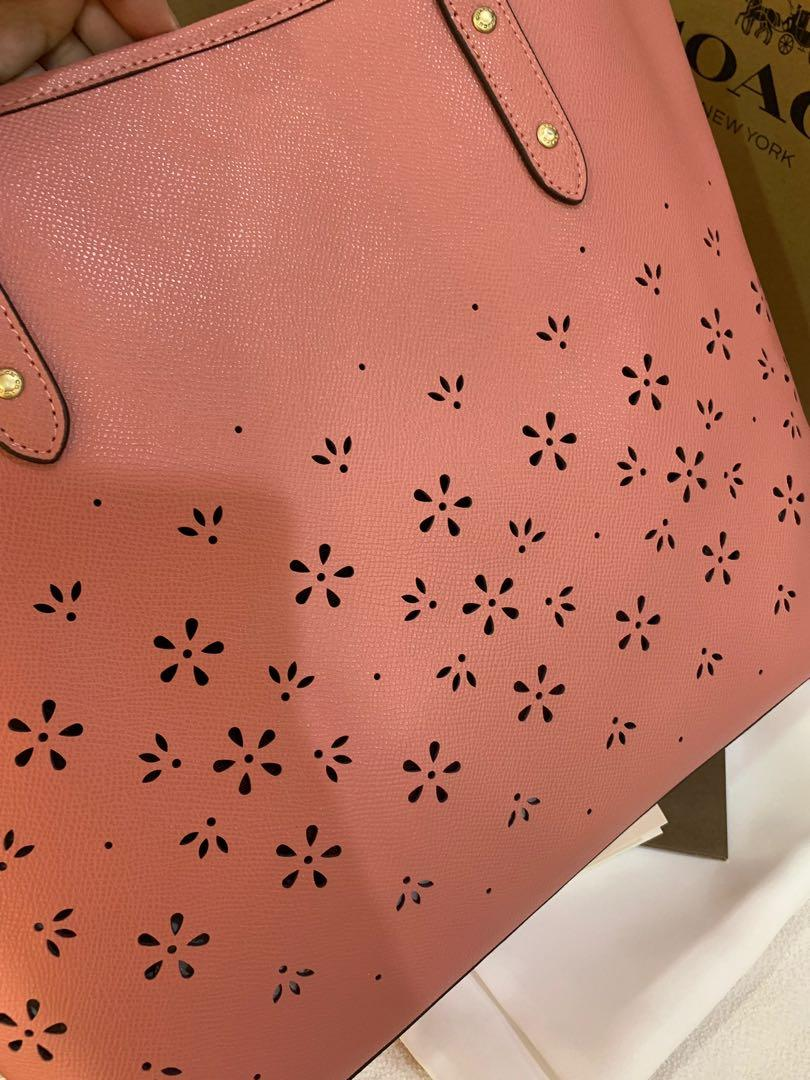 Ready Stock Authentic coach women pink butterfly shoulder totes bag large