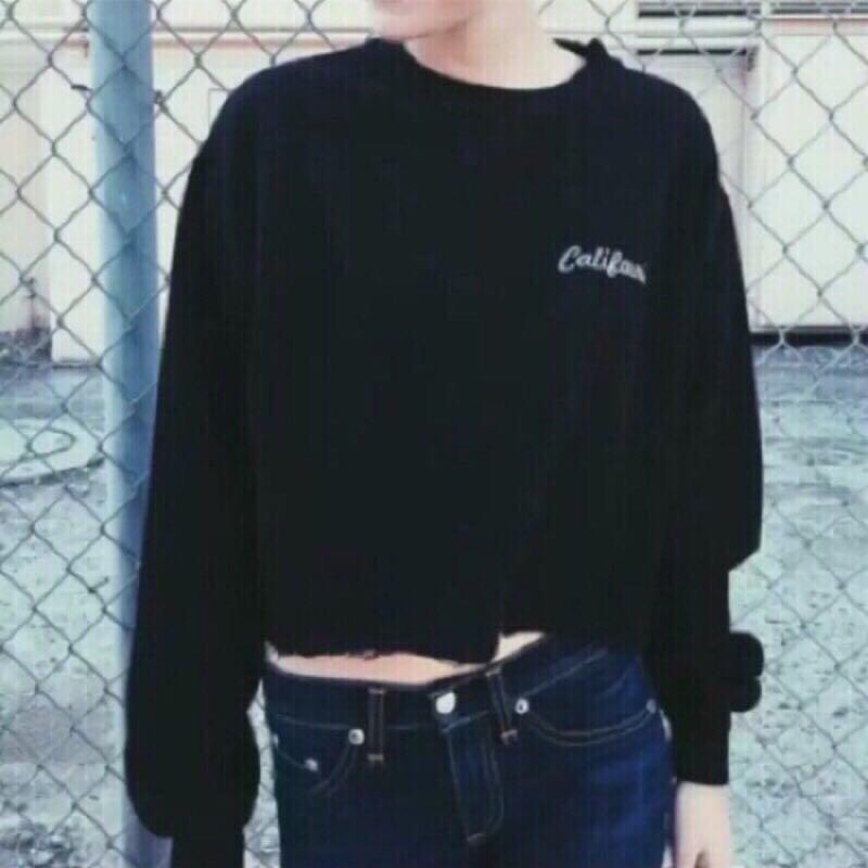Tinana 🗽 實品 歐美加州刺繡logo短款短版長袖上衣