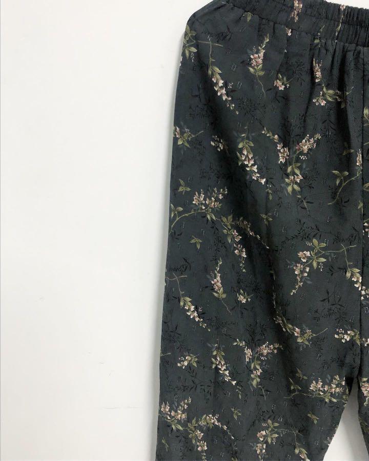 Vintage 花花ㄉ藍灰色 超漂亮褲子 長褲嬉皮