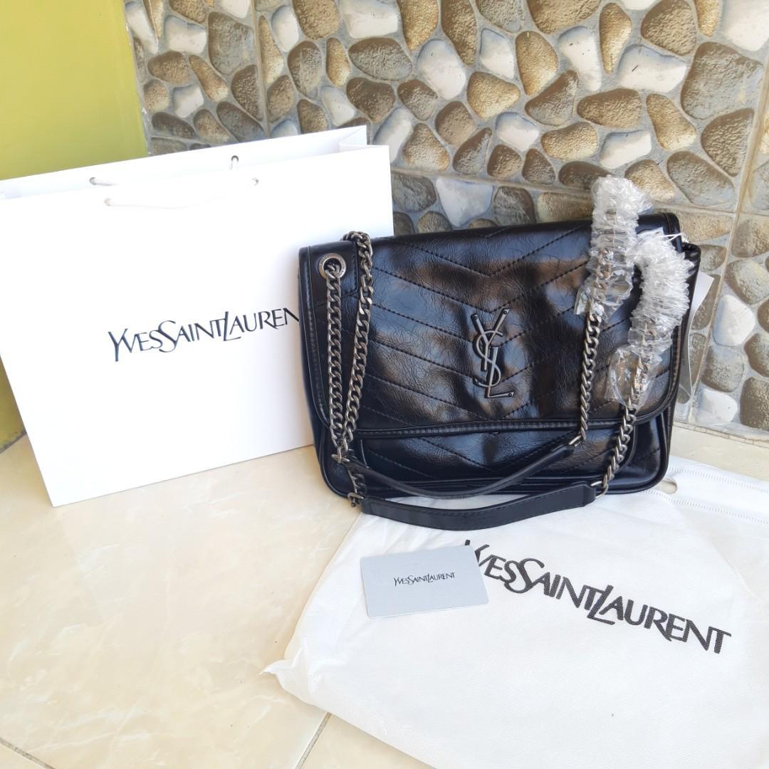YSL Niki Chain Medium Shoulder Bag Semi Premium Branded Free Paperbag